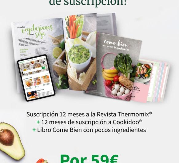 """1 año de Suscripción a COOKIDOO + 12 revistas(papel) + Libro """"como bien con pocos ingredientes"""" = 59€"""