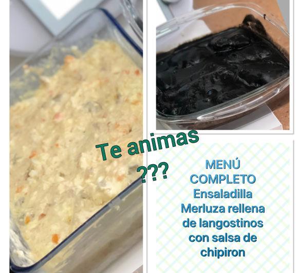 ENSALADILLA Y MERLUZA RELLENA DE LANGOSTINOS Y SALSA DE CHIPIRON —- MENU COMPLETO
