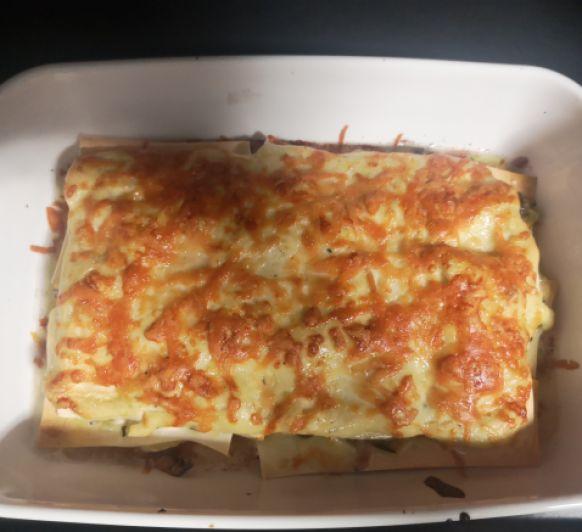 Lasaña de calabacin y champiñones con queso de cabra